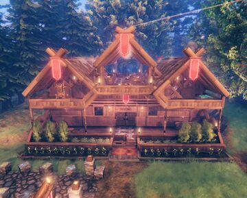Triquetra Inn and Viking camp Valheim Build