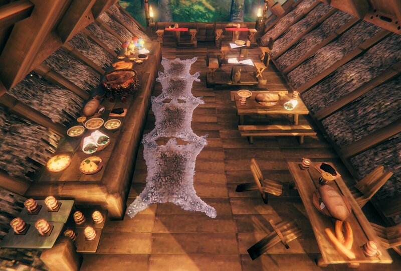 Outdoor dining area with smorgasbord.