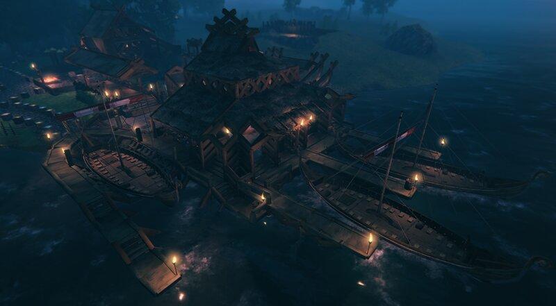 Dock house and ship yard.